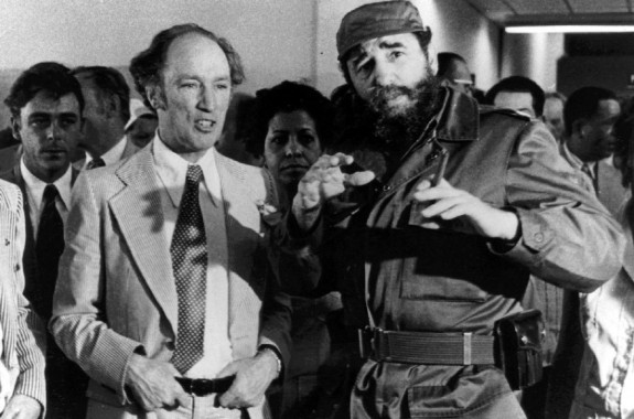 CPARCHIVEPHOTO FILE--Former prime minister Pierre Trudeau looks on as Cuban President Fidel Castro gestures during a visit to a Havana housing project in this Jan. 27, 1976 photo. Cubaís Castro, former U.S. president Jimmy Carter and Prince Andrew are among the dignitaries expected to attend the state funeral for Trudeau in Montreal on Tuesday.(CP PICTURE ARCHIVE/Fred Chartrand)