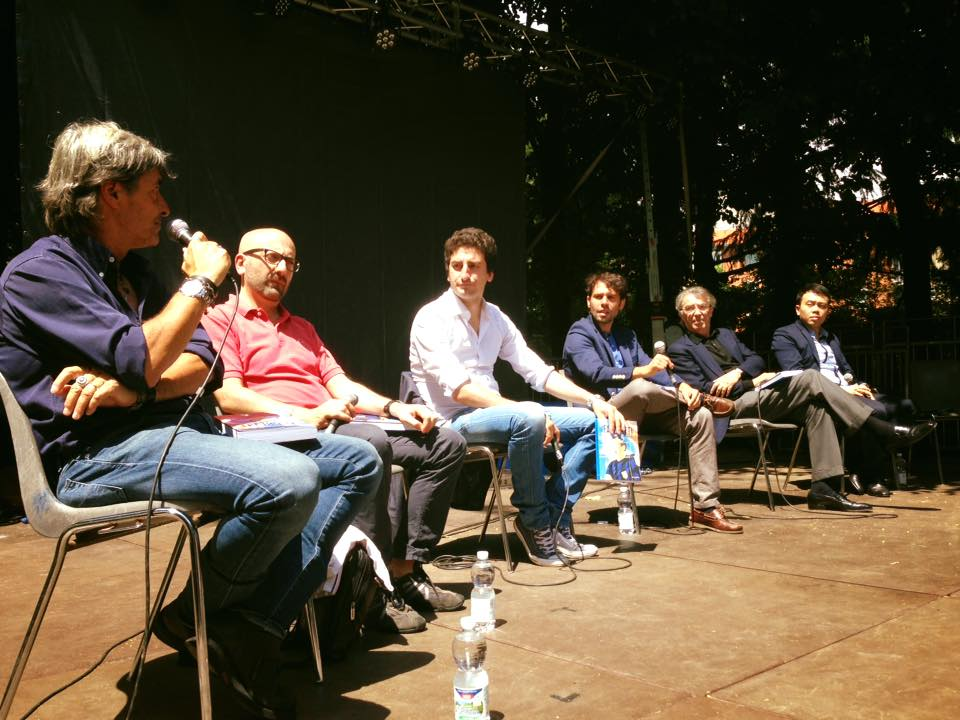 Un momento della presentazione del libro su Facchetti, con gli autori  Paolo Maggioni, Davide Barzi, Davide Castelluccio. Presente anche Massimo Moratti