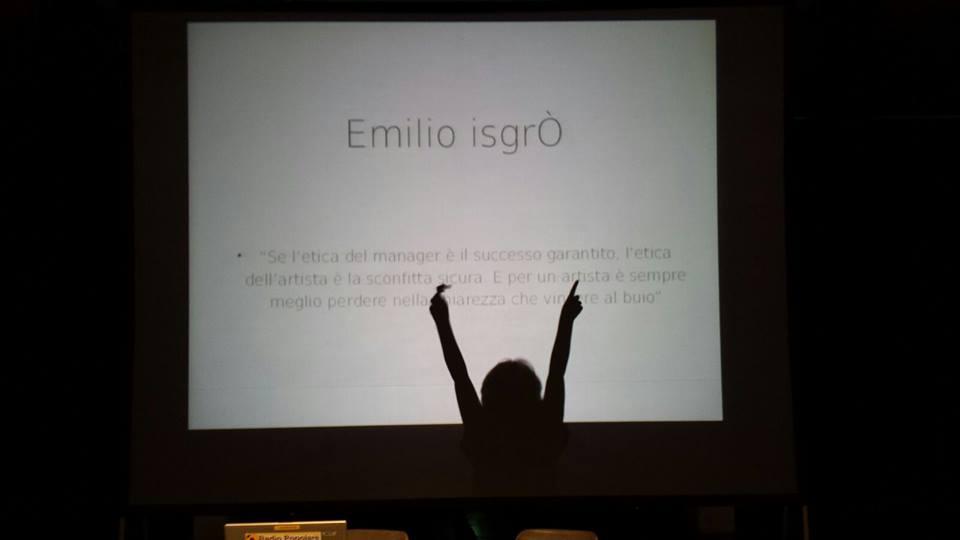 Un momento dell'incontro con Emilio Isgrò