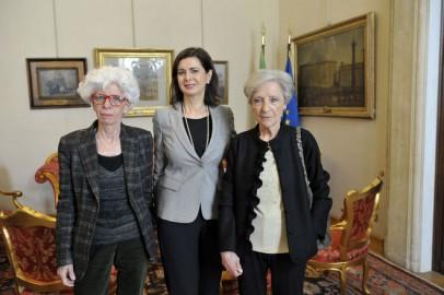 Mariangela Gritta Grainer (sinistra) e Luciana Alpi ricevute un anno fa dalla presidente della Camera