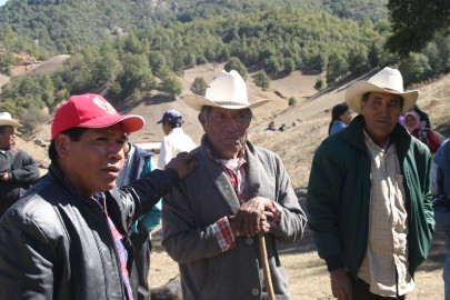 Isidro Baldenegro López (left), 2005 Goldman Environmental Prize Winner, North America (Mexico), with elders of the Tarahumara community, Coloradas de la Virgen, Chihuahua, where he opposes illegal logging operations.