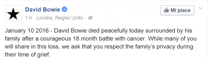-3 David Bowie January 10 2016 David Bowie died peacefully today...