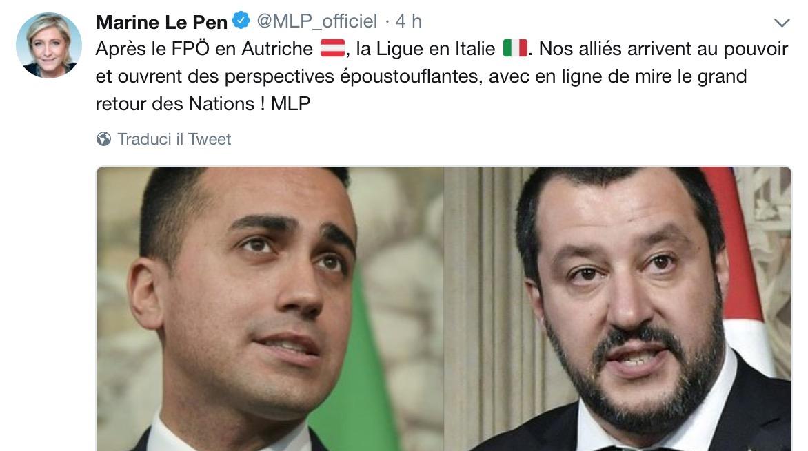 Marine Le Pen elogia Lega su Twitter
