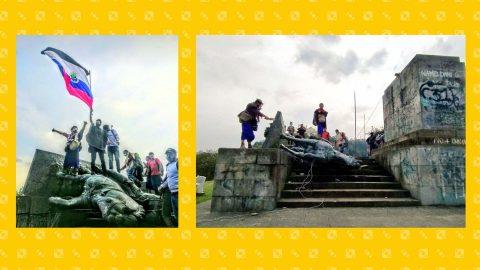 Colombia, abbattuta dagli indigeni la statua del conquistador Sebastián de Belalcázar