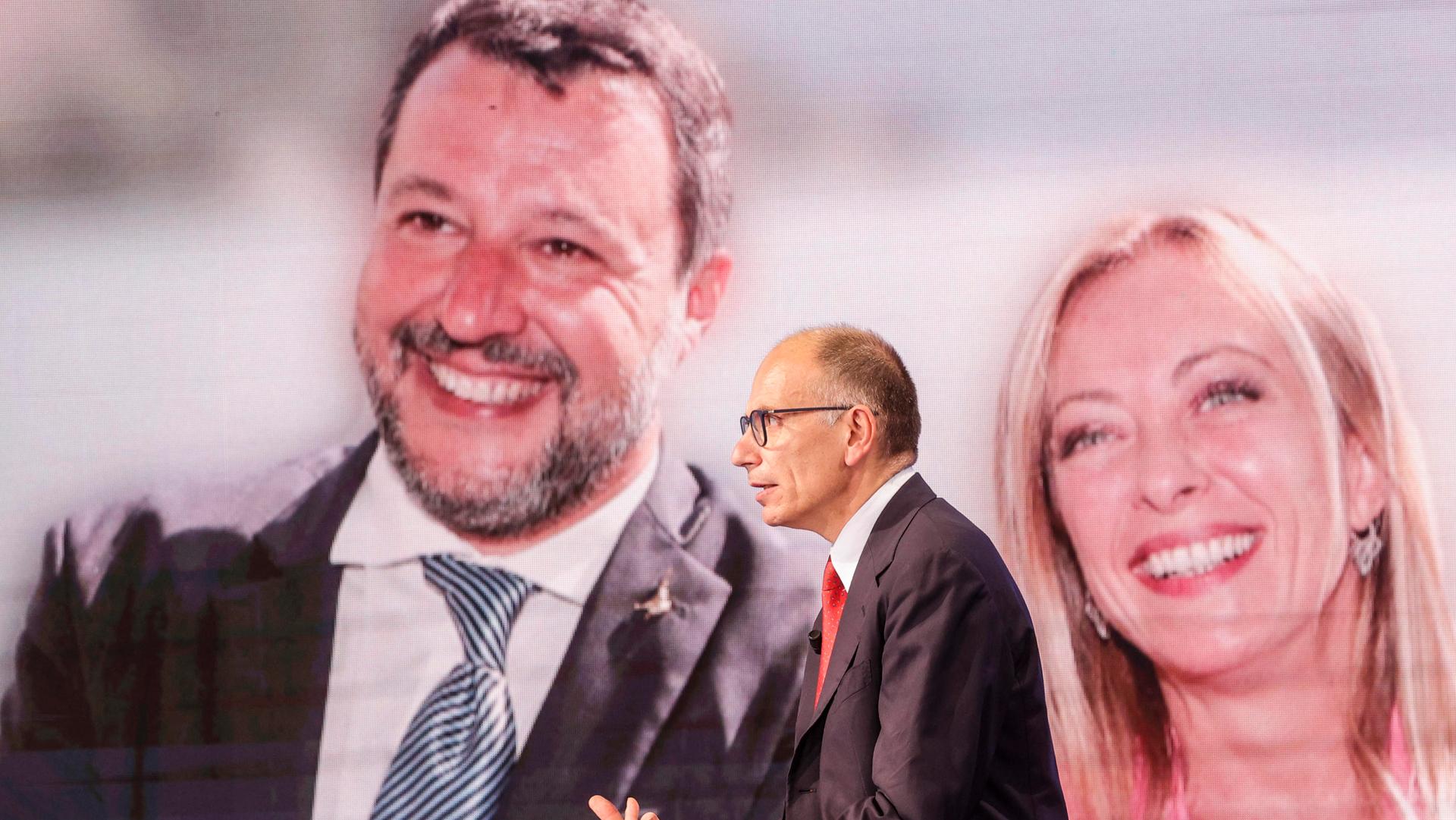 Enrico Letta Salvini Meloni ANSA